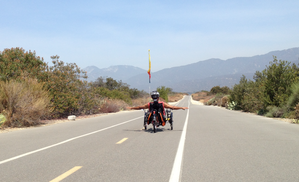 Me trying to achieve liftoff on the San Gabriel River bike Trail.