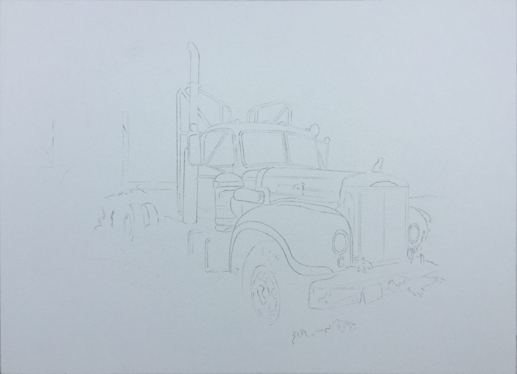 watercolor sketch of logging truck